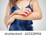 closeup women itching and... | Shutterstock . vector #622328906