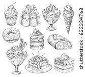 bakery desserts sketch vector... | Shutterstock .eps vector #622334768