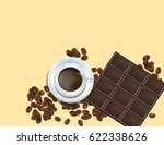 coffee beans  chocolate bar and ...   Shutterstock .eps vector #622338626