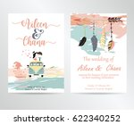 wedding card with feather bride ... | Shutterstock .eps vector #622340252