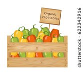 wooden box of bell peppers.... | Shutterstock .eps vector #622342916