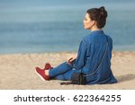 denim outfit fashion details.... | Shutterstock . vector #622364255
