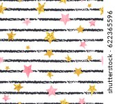 Seamless Striped Stars Pattern...