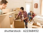 young man and woman opening... | Shutterstock . vector #622368452