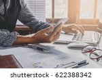 businesswoman working and using ... | Shutterstock . vector #622388342