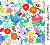 vector rustic flowers... | Shutterstock .eps vector #622389998