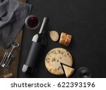 red wine bottle  corkscrew ... | Shutterstock . vector #622393196