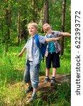 children with backpacks walking ... | Shutterstock . vector #622393772