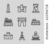 monument icons set. set of 9... | Shutterstock .eps vector #622396718