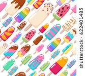 popsicle ice cream pattern.... | Shutterstock .eps vector #622401485