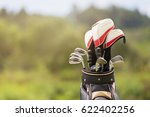 golf clubs drivers over green... | Shutterstock . vector #622402256