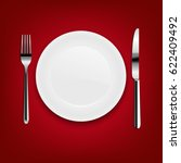 plate with fork and knife with... | Shutterstock . vector #622409492