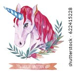 watercolor unicorn illustration.... | Shutterstock . vector #622415228