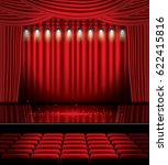 red stage curtain with... | Shutterstock .eps vector #622415816