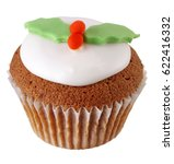 Small photo of ONE ICED CHRISTMAS CHOCOLATE SPONGE CUPCAKE DECORATED WITH FONDANT HOLLY LEAVES AND BERRIES,ON WHITE