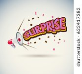 megaphone with surprise text  ... | Shutterstock .eps vector #622417382