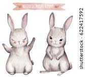 Stock photo cute bunny watercolor set little beautiful rabbits 622417592