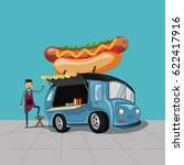 food truck and chef cartoon... | Shutterstock .eps vector #622417916