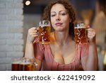 woman with curly hair with... | Shutterstock . vector #622419092