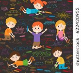 seamless pattern with child art ...   Shutterstock .eps vector #622420952