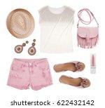set of female tourist summer... | Shutterstock . vector #622432142