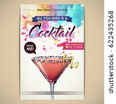 cocktail poster. watercolor  ... | Shutterstock .eps vector #622435268