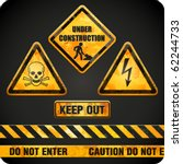 ggrungy danger signs. vector... | Shutterstock .eps vector #62244733