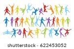isolated colorful dancers set... | Shutterstock . vector #622453052