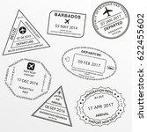 passport stamp set.... | Shutterstock .eps vector #622455602