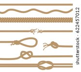 set of realistic  brown ropes... | Shutterstock . vector #622457012