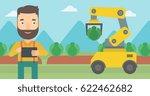 caucasian farmer standing on... | Shutterstock .eps vector #622462682