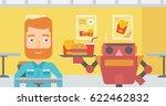 robot waiter working in a fast... | Shutterstock .eps vector #622462832