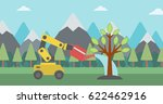 robot with watering can in arm... | Shutterstock .eps vector #622462916