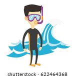 asian man in diving suit ... | Shutterstock .eps vector #622464368