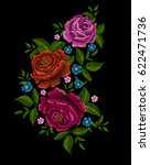 embroidery peonies. ethnic... | Shutterstock . vector #622471736