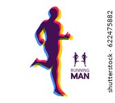 silhouette of a running man.... | Shutterstock .eps vector #622475882