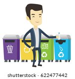 asian man throwing away garbage.... | Shutterstock .eps vector #622477442