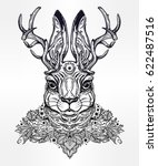 ornate decorative jacalope... | Shutterstock .eps vector #622487516