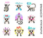 lemur emotions set of similar... | Shutterstock .eps vector #622490468