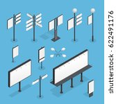 billboard isometric set on blue ... | Shutterstock .eps vector #622491176
