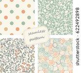 set of 4 vintage seamless... | Shutterstock .eps vector #622492898