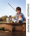 Happy Boy Go Fishing On The...
