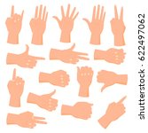 collection of hand gestures... | Shutterstock . vector #622497062