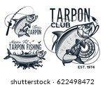 vintage tarpon fishing emblems  ... | Shutterstock .eps vector #622498472
