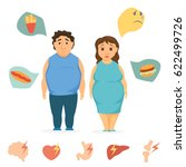 man and women obesity... | Shutterstock .eps vector #622499726