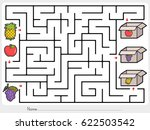 maze game  pick fruits box  ... | Shutterstock .eps vector #622503542