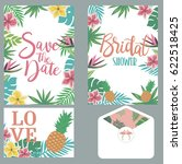 save the date card set with... | Shutterstock .eps vector #622518425
