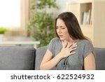 woman suffering respiration... | Shutterstock . vector #622524932