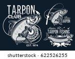vintage tarpon fishing emblems  ... | Shutterstock .eps vector #622526255