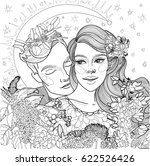 vector beautiful loving couple...   Shutterstock .eps vector #622526426